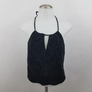 Leather Limited Top XL Suede Black Halter Crop V-n